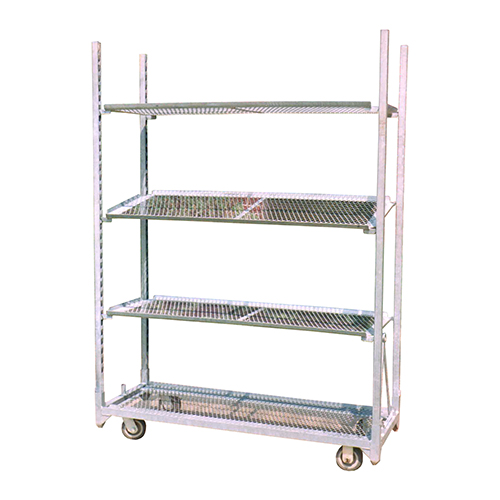 Long cart with tilted racks