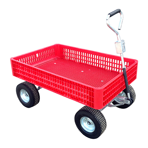 Red Garden Wagon with handle up