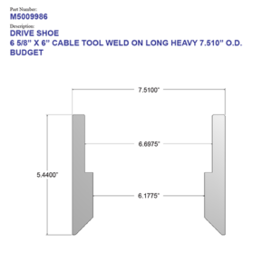 """06.625"""" Budget Drive Shoe - Cable Tool - Weld On - Long - Heavy (6 5/8"""") - Wellmaster"""