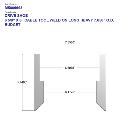 """06.625"""" Budget Drive Shoe – Cable Tool – Weld On – Long – Heavy (6 5/8"""") - Wellmaster"""