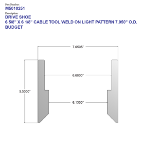 """06.625"""" Budget Drive Shoe - Cable Tool - Weld On - Light Pattern (6 5/8"""") - Wellmaster"""