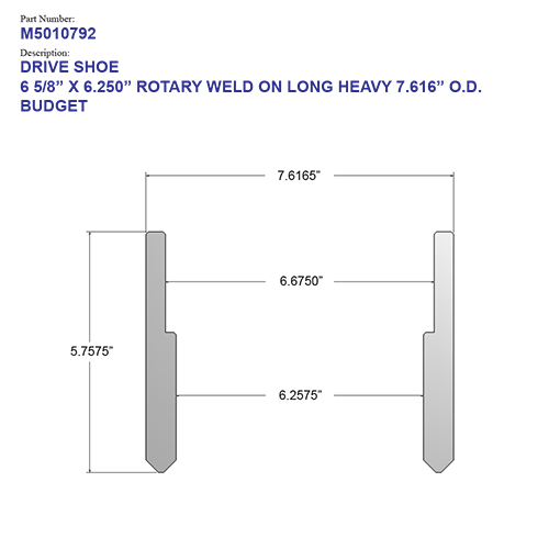 """06.625"""" Budget Drive Shoe – Rotary – Weld On – Long – Heavy (6 5/8"""") - Wellmaster"""