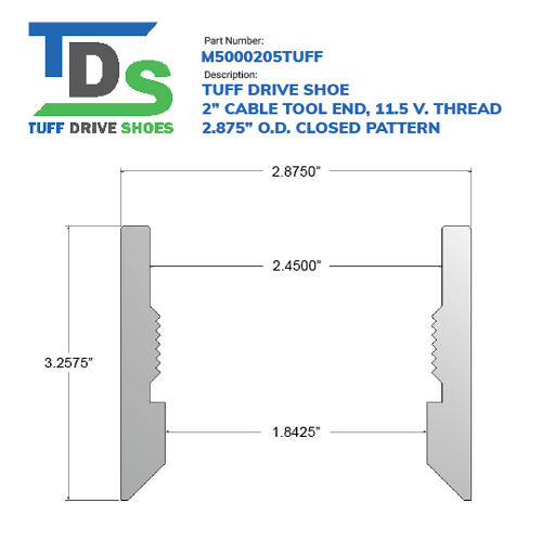 """02.000"""" Drive Shoe – Cable Tool – Threaded – 11.5 V. Thread – Closed Pattern (2"""") - Wellmaster"""