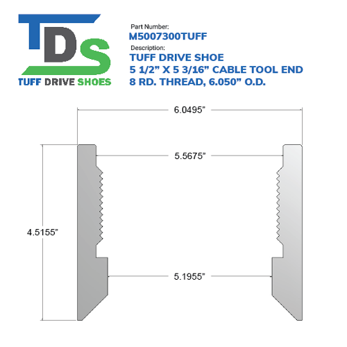 """05.500"""" Drive Shoe – Cable Tool – Threaded – 8 RD. Thread (5 1/2"""") - Wellmaster"""