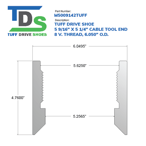 """05.563"""" Drive Shoe – Cable Tool – Threaded – 8 V. Thread (5 9/16"""") - Wellmaster"""