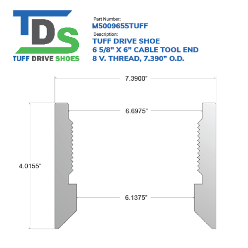 """06.625"""" Drive Shoe – Cable Tool – Threaded – 8 V. Thread (6 5/8"""") - Wellmaster"""