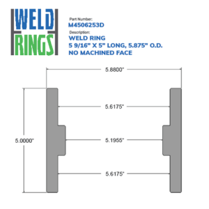 """05.563"""" Weld Ring - 5"""" Long, No Machined Face (5 9/16"""") - Wellmaster"""